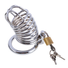Male Chastity Device Cock Ring Penis Ring Lock Stainless Steel Dick Bondage Chastity Cage Penis sleeve Sex Toys For Men FB