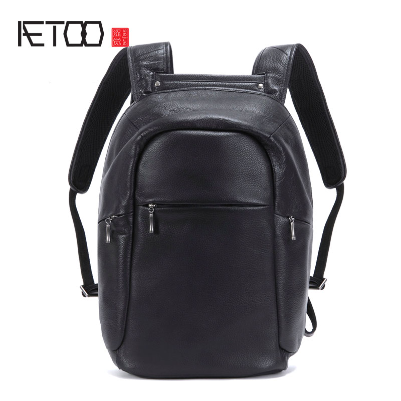 AETOO New first layer of leather shoulder bag male leather backpack Korean version of the tide simple bag travel business casual new korean version of the first layer of leather pillow bag large lychee pattern handbag shoulder messenger fashion leather leat