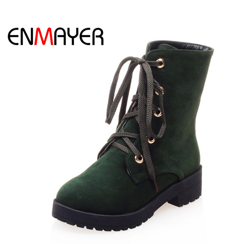 ENMAYER Woman Platform Boots Lace-up Shoes Women Round Toe Mid-Calf Boots Woman New Winter Boots Black Green Shoes for Ladies hot sale women shoes lace up round toe mid calf boots for women fashion print floral embellished denim shoes retro femme boots