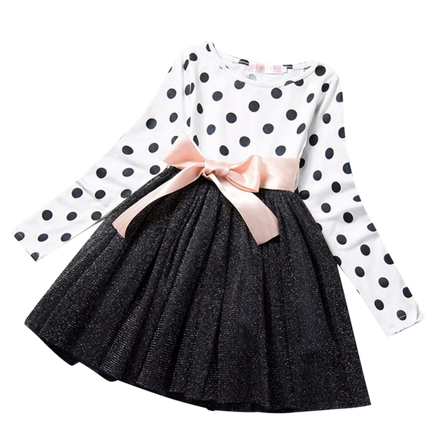 991cdd8d1b38 Baby Girl Party Dress Children Tutu Princess Kids Clothes Long Sleeves Dots Dress  Girls Party Casual Wear Outfit 2 3 4 5 6 Years-in Dresses from Mother ...