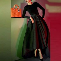 Autumn Winter Black Asymmetrical Skirt Custom Made Floor Length Long Maxi Skirt Elegant High Low Skirts