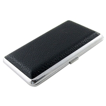 SODIAL(R) Metal Frame Black Faux Leather Cigarette Storage Case Box