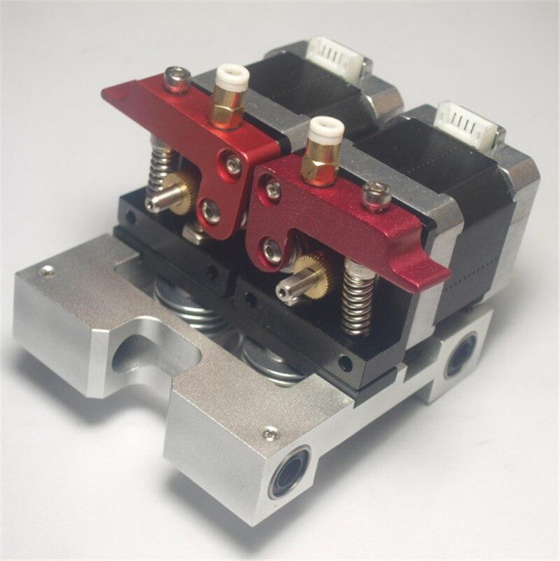 Reprap Replicator 3D printer metal dual direct extruder kit 1.75 mm filament with nema 17 stepper motor dual extruder carriage