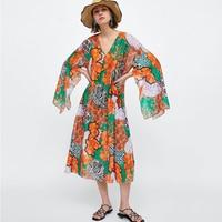Dress Women Linen Summer Dress V neck Split Long Sleeve 2019 Loose Passionate and lively Cool Woman Maix Dress Women Dresses New