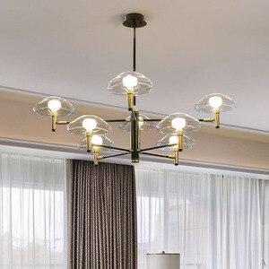 Image 3 - Postmoderne Led Kroonluchter Verlichting Ijzer Glazen Eettafel Deco Armaturen Woonkamer Hanger Lampen Slaapkamer Opknoping Lichten