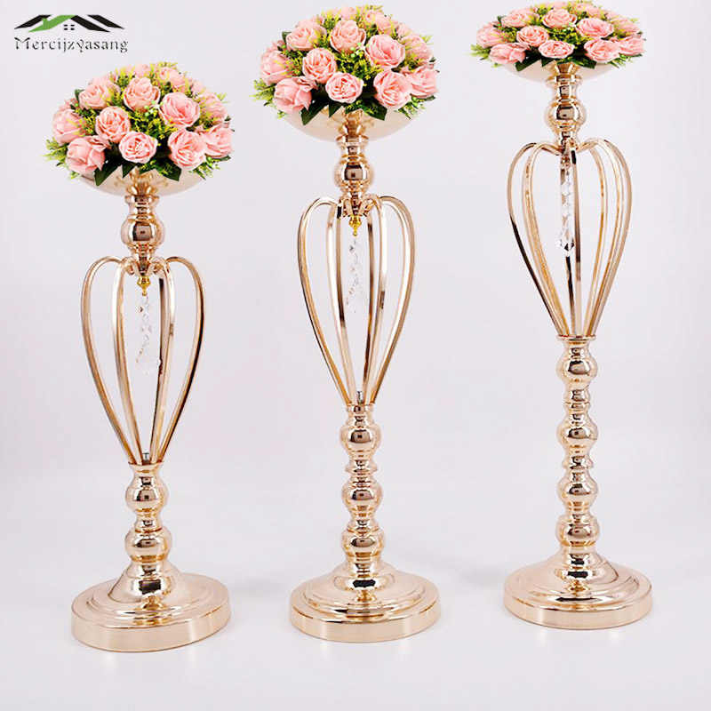 10PCS/LOT Metal Gold Candle Holders Road Lead Table Centerpiece Stand Pillar Candlestick For Wedding Candelabra Flowers Vases 05