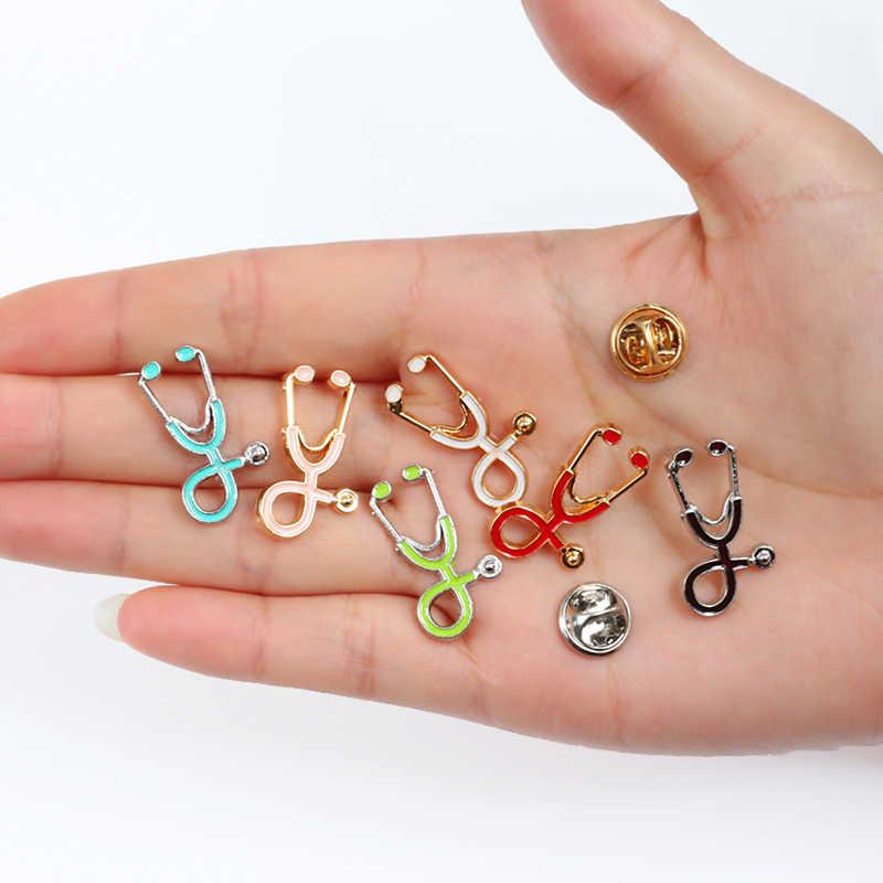 ブローチ聴診器 18 スタイル女性男性エナメルブローチピンメタルゴールドシルバー医療ジュエリーラペルピンデニムジャケット襟バッジ