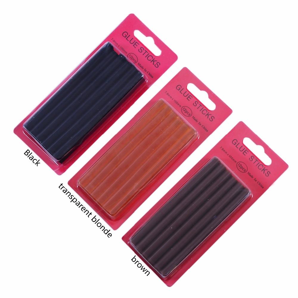 12pcs/lot  0.7*10 Cm Keratin Glue Sticks,fusion Glue, Brown, Blonde, Black And Transparent Blonde, 3 Colors In Stock Optional