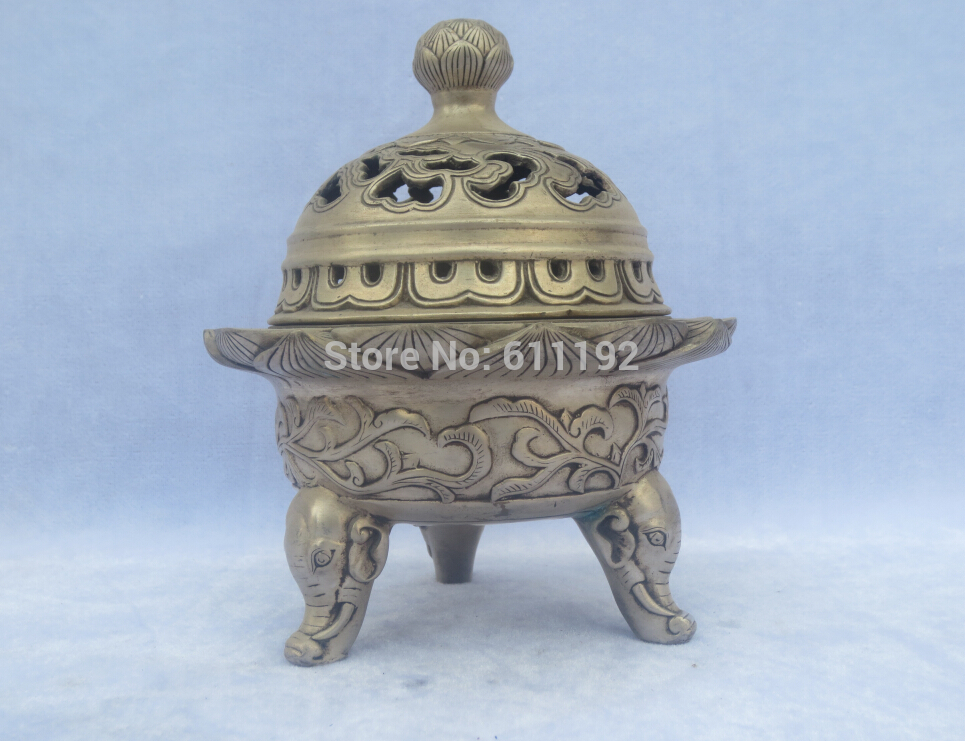 Chinese Brass Hand Carved Kwan-yin Incense Burner Ming Dynasty Xuande Mark