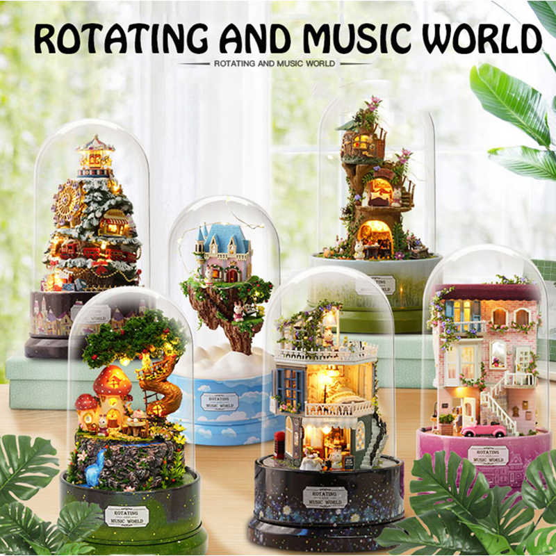New Furniture Doll House Wooden Miniature DIY DollHouse Furniture Kit Assemble Rotary Music Box Doll Home Toys For children Gift