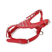 Spiked Studded Harness Rivets Adjustable PU Leather Pet DOG Walking Collar L Red