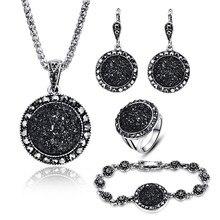 Винтажный набор бижутерии в черном цвете, Модный женский ювелирный набор, античный серебряный цвет, кристалл, круглый камень, кулон, ожерелье, наборы, 4 шт