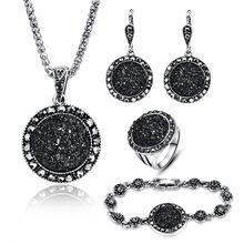 62a0037f8087 Venta al por mayor conjunto de joyas negras Vintage de moda para mujer conjunto  de joyas