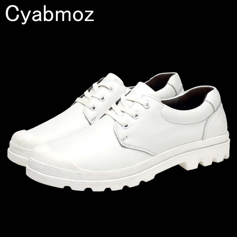 Cyabmoz brand men casual shoes handmade genuine leather white/black men lace-up shoes thick sole Zapatos Hombre big size 38-47 zjnnk hot sale genuine leather men casual shoes black brown men flats handmade men father shoes lace up men shoes dropship h825