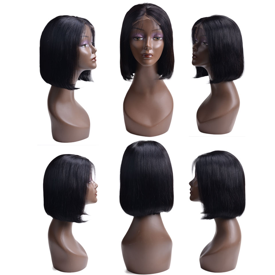 Short Lace Front Human Hair Wigs Remy Human Hair Wigs Brazilian Hair Bob Wig For Black Women Straight Human Hair Wigs(China)
