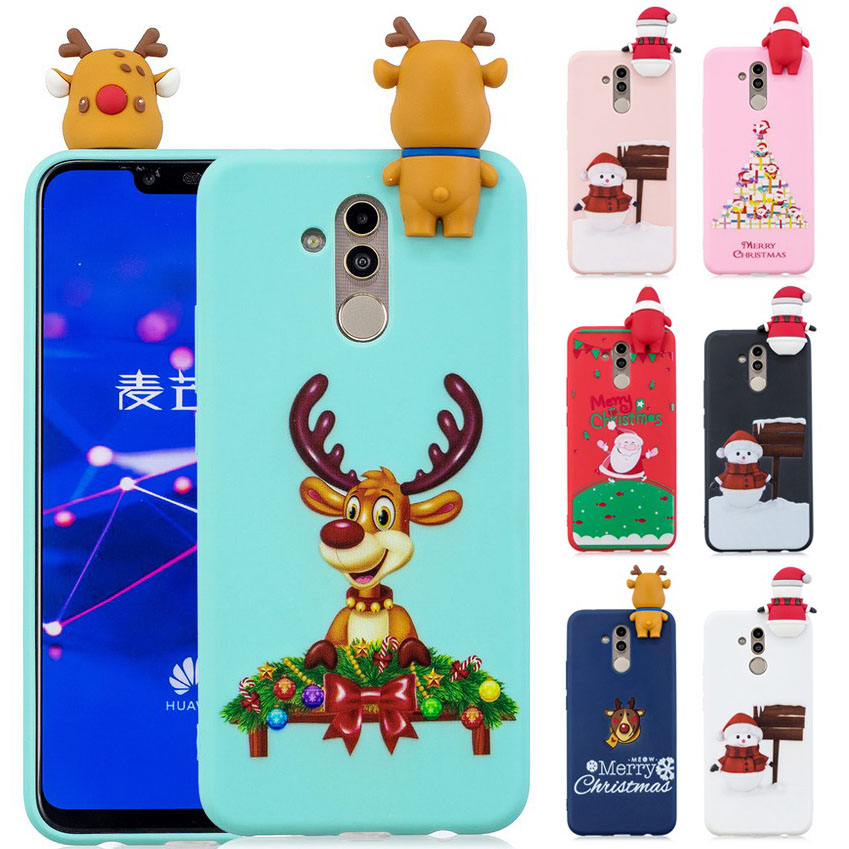 Christmas Gift For Huawei Mate 20 Lite Case Soft Silicone Santa Claus Deer Phone Case For Huawei Mate20 Lite Fundas