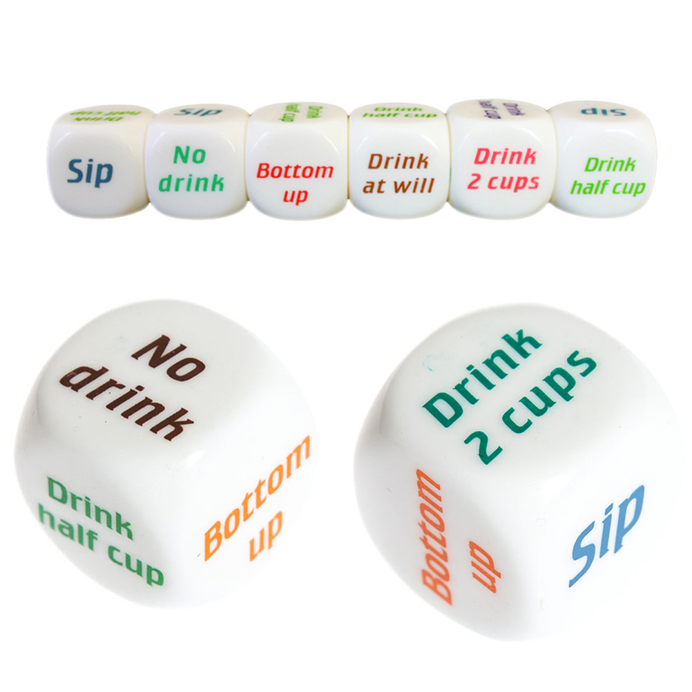 Cute English Drinking Wine Mora Dice Games Adult Gambling Bar Party Pub Lovers Drink Decider Dice Novelty Gag Toys