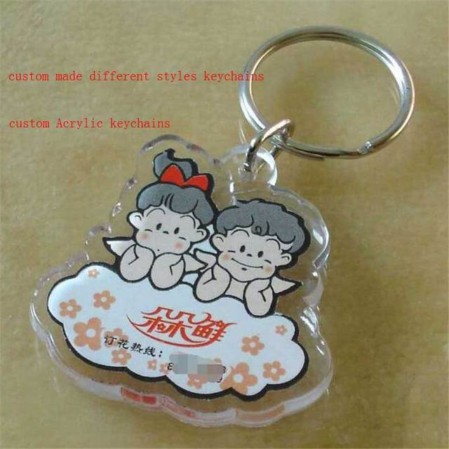 US $85 0 |customized transparent double side Acrylic keychains plastic  keyring bag pendant provide picture custom company design wholesale-in Key