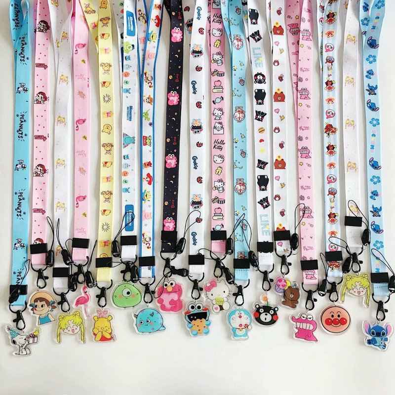 New Cute Cartoon Arrival Hot-selling Polyester Cell Phone Neck Lanyard Neck Straps For Smartphone Key ID Card Keychain