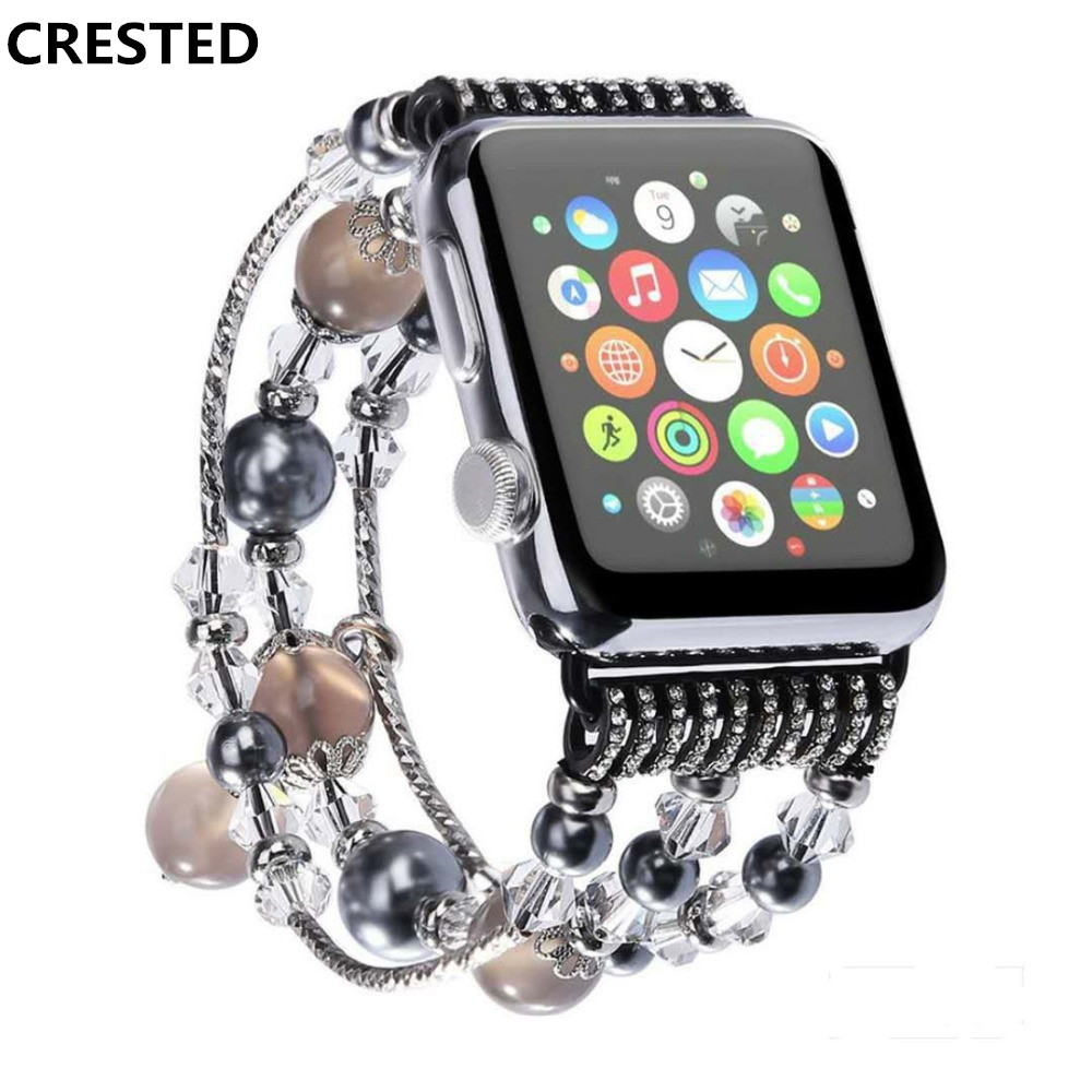 CRESTED Luxury Agate strap For apple watch band 42mm 38mm iwatch series 3 2 1 fashion wrist bands bracelet watchband belt correa