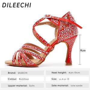 Image 2 - DILEECHI Latino sapatos de dança de grande pequeno strass Vermelho brilhante azul de cetim Mulheres sapatos de dança Salsa sapatos de festa de casamento Alargamento 9 calcanhar seis centímetros