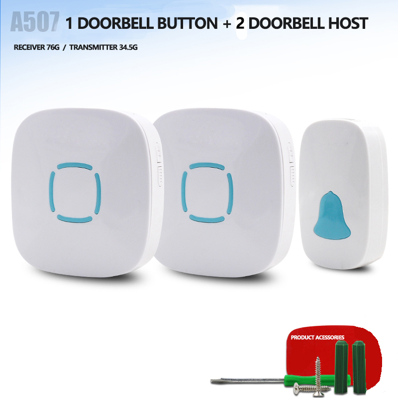 A507One drag two Wireless doorbell home remote control electronic doorbell  a long distance music doorbell battery old man pager jeatone wireless doorbell self generating doorbell through the wall of your home with long distance intelligent remote control
