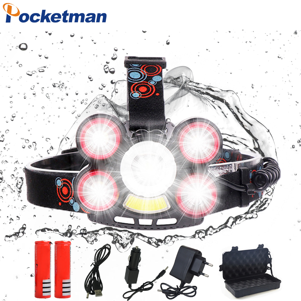 40000LM Ultra Bright Headlamp 5*T6 LED Headlight 4 mode Zoom Head lamp Rechargeable Forehead Light With 2*18650 Battery Charger