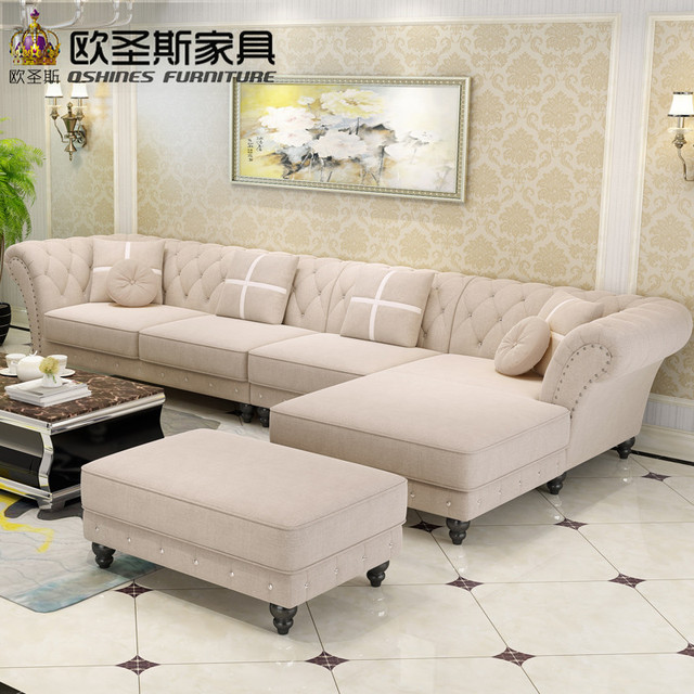 Luxury L Shaped Sectional Living Room Furniutre Antique Europe Design Clical Corner Wooden Carving Fabric Sofa Sets W38f