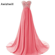 A Line Sweep Train Empire Waist Beading crystals Chiffon Long Party Dress Vestido de Festa Longo Evening Dresses Pregnant