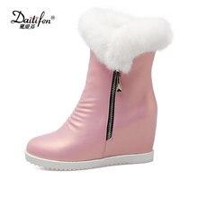 Daitifen Rabbit Fur Ankle Boots 2017 Hidden Wedges Snow Boots High Heels Platform Boots Autumn Winter Zipper Boots Shoes Woman