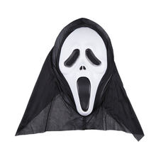 Halloween Death Comes Horror Ghosts Grimace Mask Masquerade Party Mask Carnival Plastic Face Masks with Head Scarf(China)