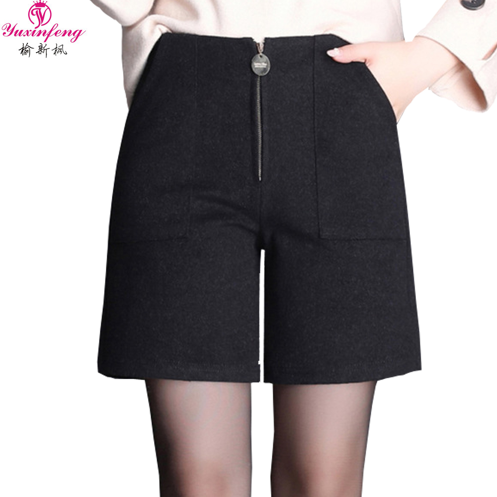 Yuxinfeng 2019 Women Winter Shorts Plus Size Mid Wasit Thick Formal Wool Shorts Female Pockets Straight Boots Shorts 7XL 9XL