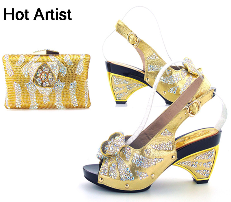 Hot Artist Fashion Italian Rhinestone Bead Shoes And Bag Set Summer Style High Heel Woman Shoes And Bag Set For Party TYS17-90