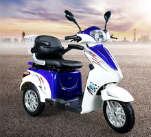 Electric Scooter Blue Recreational Vehicle Tricycle Patrol Car Leisure Comfortable Motorcycle For Adult Disabled Elder People