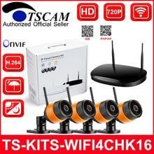 TSCAM 4CH Wireless IP Camera 720P WIFI IP Camera NVR Kit Outdoor Waterproof Night Vision CCTV Security Surveillance System P2P