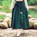 Autumn Winter Women's Ankle-length High Waist With Belt Long Cotton Skirt Ladies Vestidos New Green Print Maxi Pleated Skirt