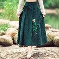 Outono Inverno das Mulheres Tornozelo-comprimento de Cintura Alta Com Cinto Saia Longa De Algodão Vestidos Das Senhoras Nova Impressão Verde Maxi Saia plissada
