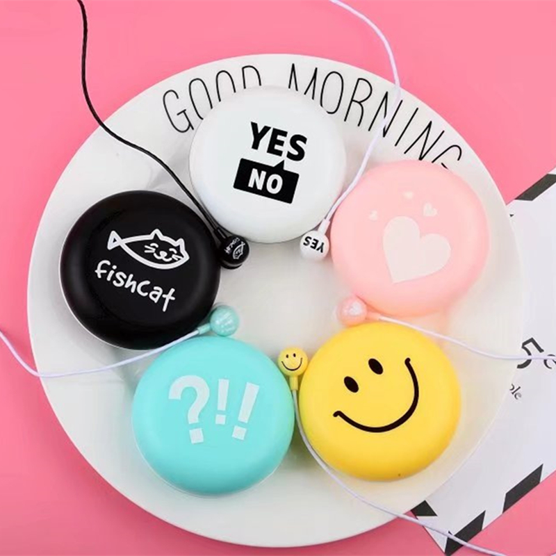 Fashion Smile Emoji Earphones 3.5mm in-ear Earbuds with Microphone Earphone Case Box for iPhone Samsung Xiaomi Girls Kid Gifts fashion professional in ear earphones light blue black 3 5mm plug 120cm cable