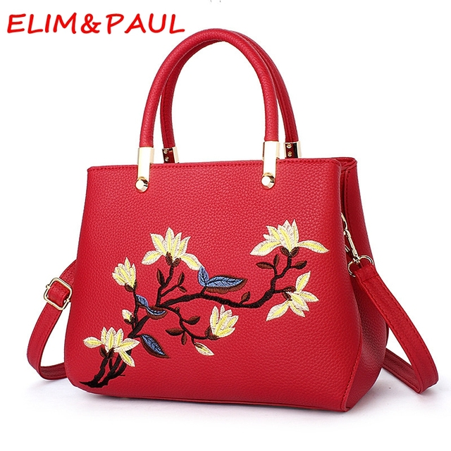 a3c743c60b ELIM PAUL Ladies Hand bags Luxury Handbags Women Bags Designer Flower Pink  Casual Tote Pu Leather Women High Quality Handbag