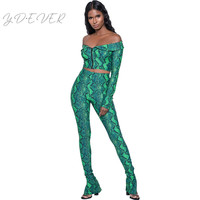 Sexy High Street Snakeskin 2 Piece Set Women Front Zipper Long Sleeve Off Shoulder Crop Top and Pant Set Party Nightclub Outfits