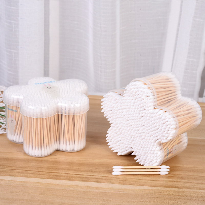 500pcs Exquisite Double-headed Cotton Swab Disposable Cosmetic Swabs Flower-shaped Boxed Hygienic Alcohol Swabs