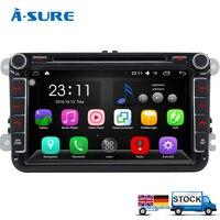A Sure 2 Din Android Auto Radio GPS DVD Navigation For VW PASSAT B6 Polo Sharan TIGUAN TOURAN CADDY GOLF 5 Mk6 T5 SEAT Skoda