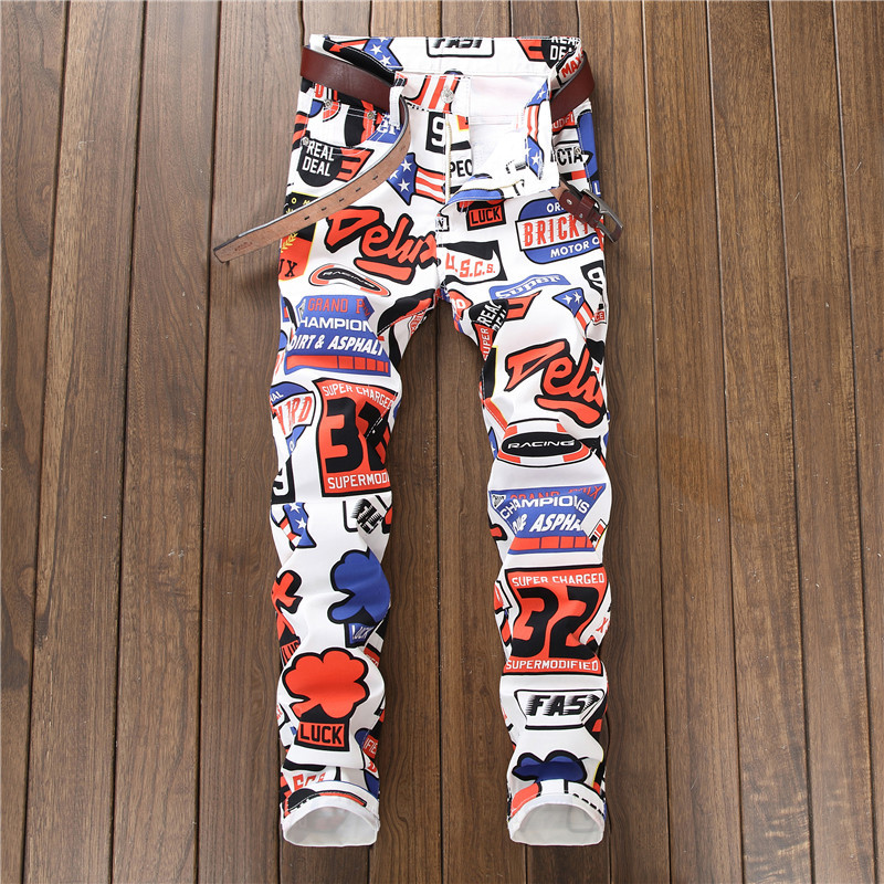 Image 2 - 2018 new jeans men imprimer Color printing design stretch jeans Soft Comfortable European and American style jeans men #5615-in Jeans from Men's Clothing