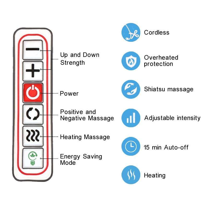 KLASVSA Cordless Rechargeable Shiatsu Neck Back Massager Portable U Shape Electric Massager with Heat Kneading Car/Home Massagem