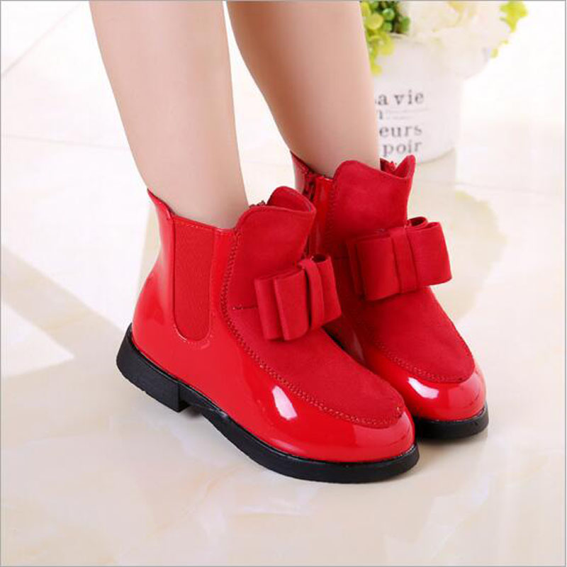 ФОТО girls Short boots baby PU  winter warm snow shoes baby girls shoes with plush lining fashion beautiful girls outwear boots 4-15