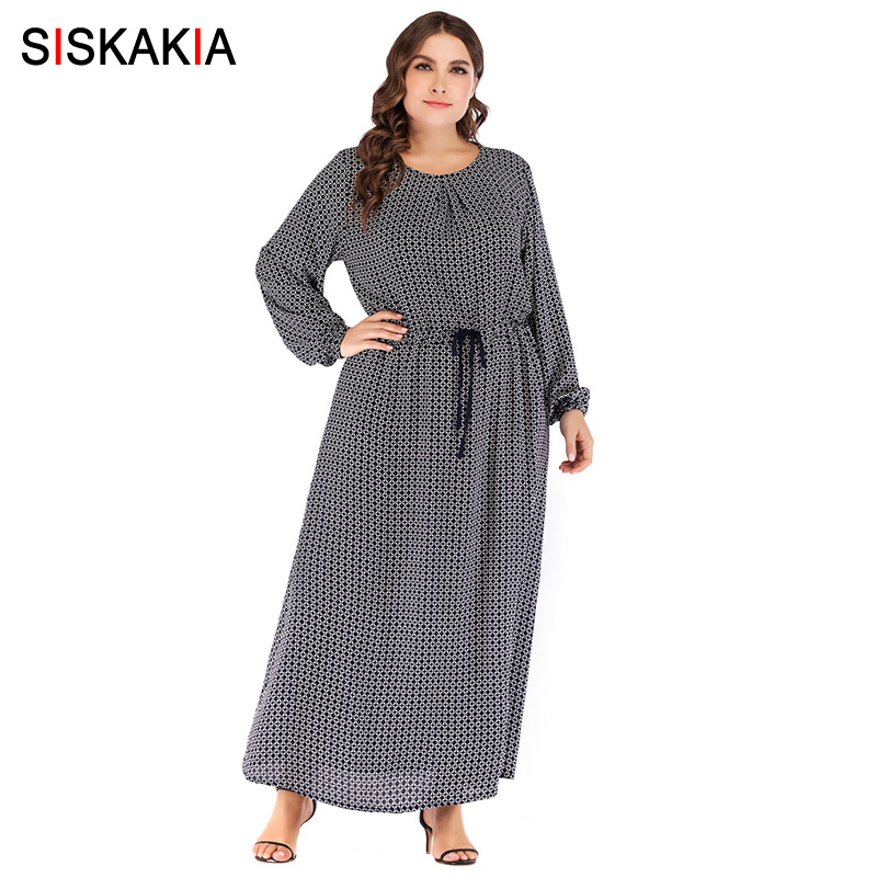 Siskakia Plaid Print Long Dress Autumn Fall 2018 Maxi Dresses Elastic Slim Lace Up Waist Women