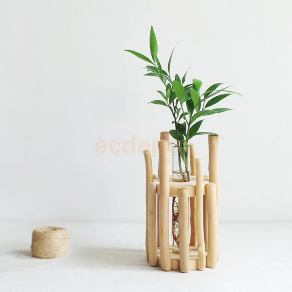 Glass Test Tube Vase Flower Holder Buds Roots Cuttings Vial Unique Wooden  Stand Vase-in Vases from Home & Garden on Aliexpress.com | Alibaba Group