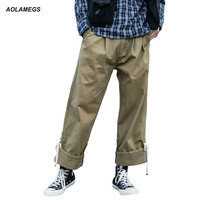 Aolamegs Men Cargo Pants Baggy Loose Hip Hop Trousers Street Fashion Japanese Harajuku Male Youth Casual