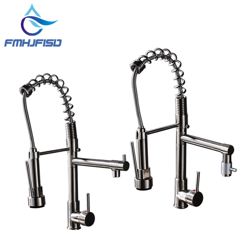 Free Shipping Brushed Nickel Kitchen Spring Mixer Faucet with One Handle Hot Cold Water