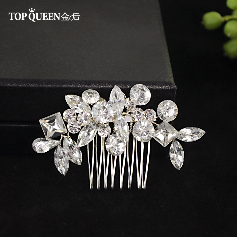 TOPQUEEN Bridal Combs Wedding Tiara Wedding Headwear Rhinestone Bridal Hair Pins Bridal Headdress Wedding Hair Comb HP88